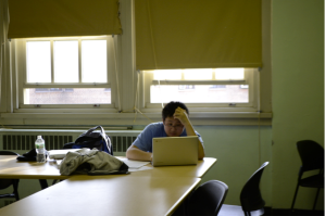 A student working in a designated Silent Space. Photo credit to Emma Bally, '17.