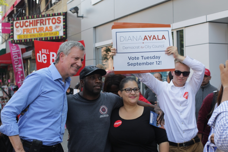 Diana Ayala (mid-right) at a campaign event with Bill de Blasio (far left) in September 2017 (Photo Credit_ The Campaign to Elect Diana Ayala to the City Council 2017)