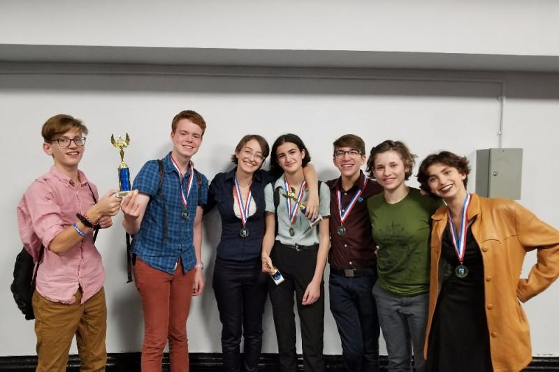 The BHSEC Debate Team taking home trophies (Photo Credit_ Jonah Warner, '18)